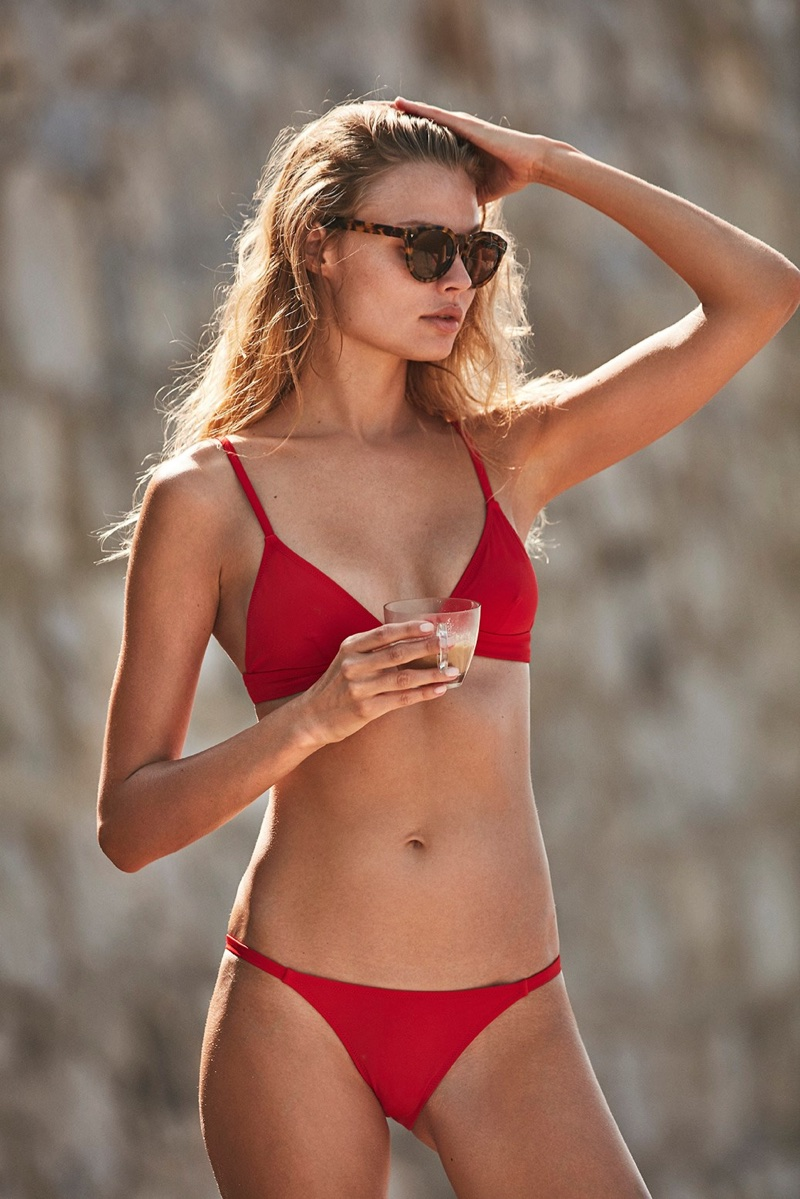 Model wears red bikini from Solid & Striped's summer 2017 collection