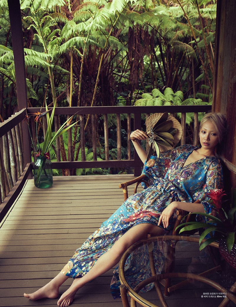 Photographed by Jack Waterlot, Soo Joo Park poses in Hawaii for the fashion editorial
