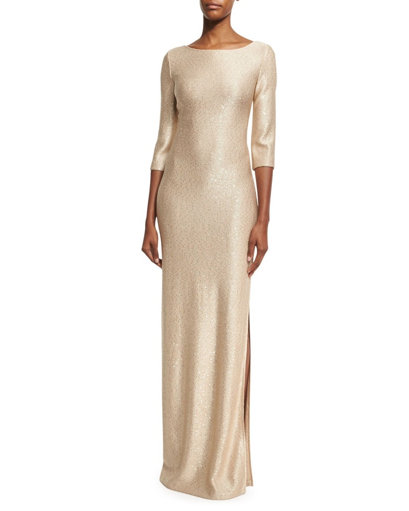 St. John Collection Sequined Knit 3/4-Sleeve Gown $1,395