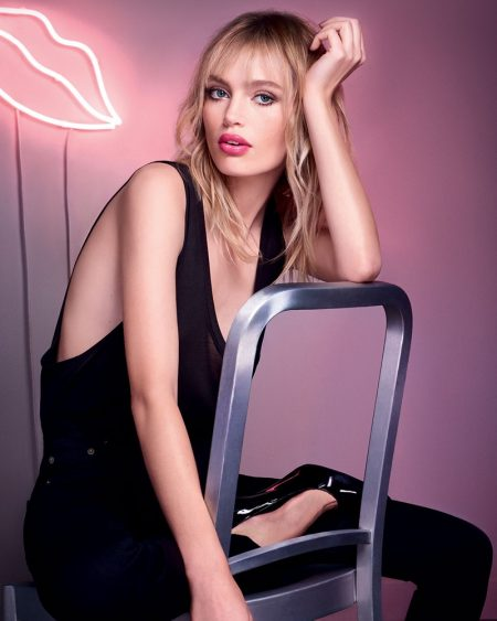 YSL Beauty spokesmodel Staz Lindes fronts the Volupté Tint-in-Balm advertising campaign