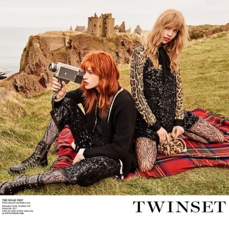 An image from Twinset's fall 2017 advertising campaign starring Stella Lucia and Stella Maxwell