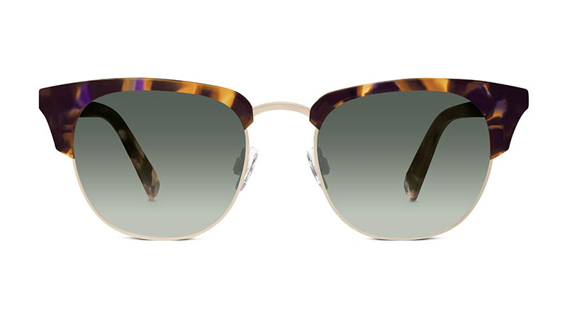 Warby Parker Addie Sunglasses in Violet Magnolia with Green Gradient Lenses $145