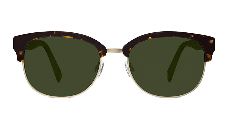 Warby Parker Eliot Sunglasses in Whiskey Tortoise with Olive Green Lenses $145