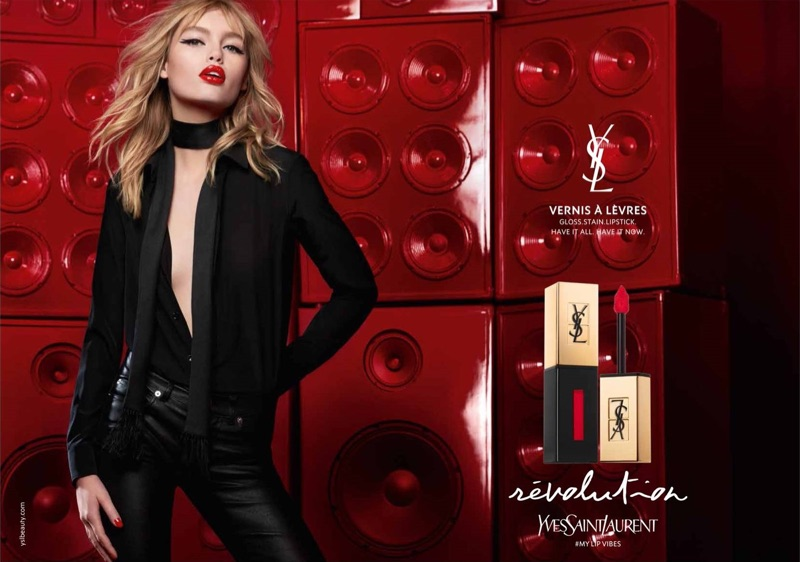 Staz Lindes fronts YSL Beauty Vernis a Levres Glossy Stain advertising campaign
