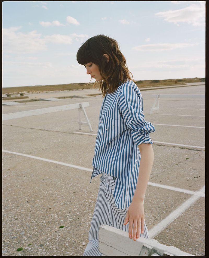 Model wears Zara Striped Shirt with Faux Pearls and Striped Palazzo Trousers