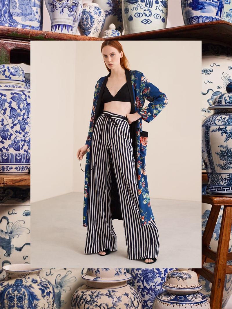 Zara Long Floral Print Kimono and Striped Palazzo Trousers