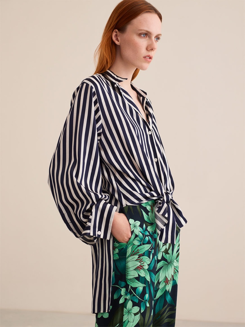 Zara Striped Shirt and Floral Print Trousers