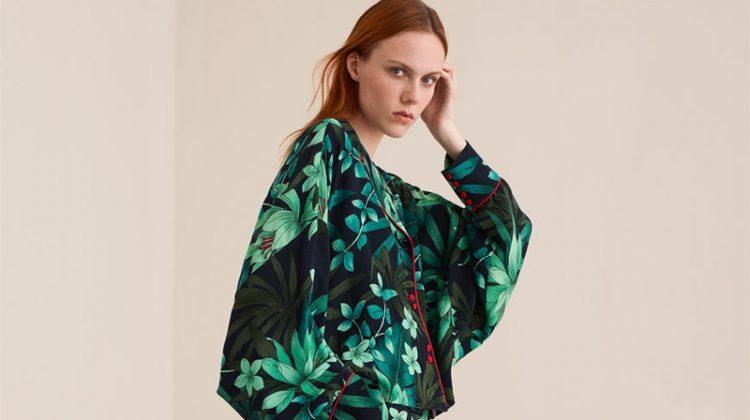 Zara Floral Printed Kimono and Floral Print Trousers