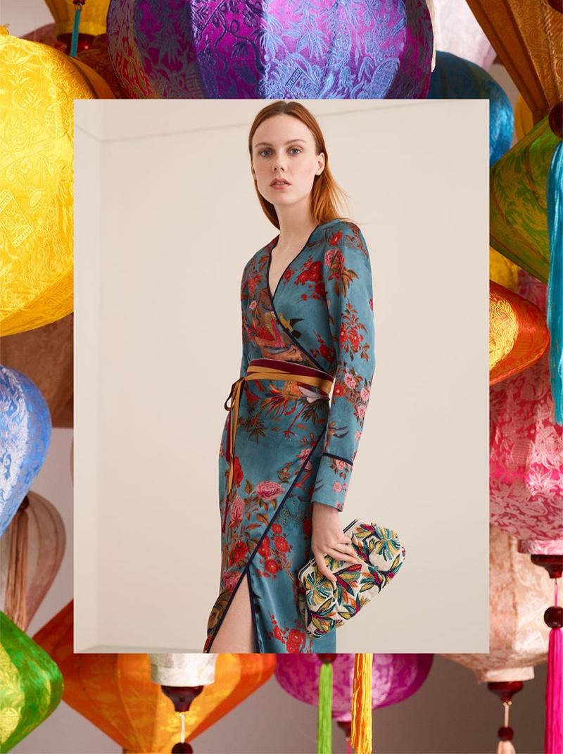 Kiki Willems models Zara Printed Kimono Dress
