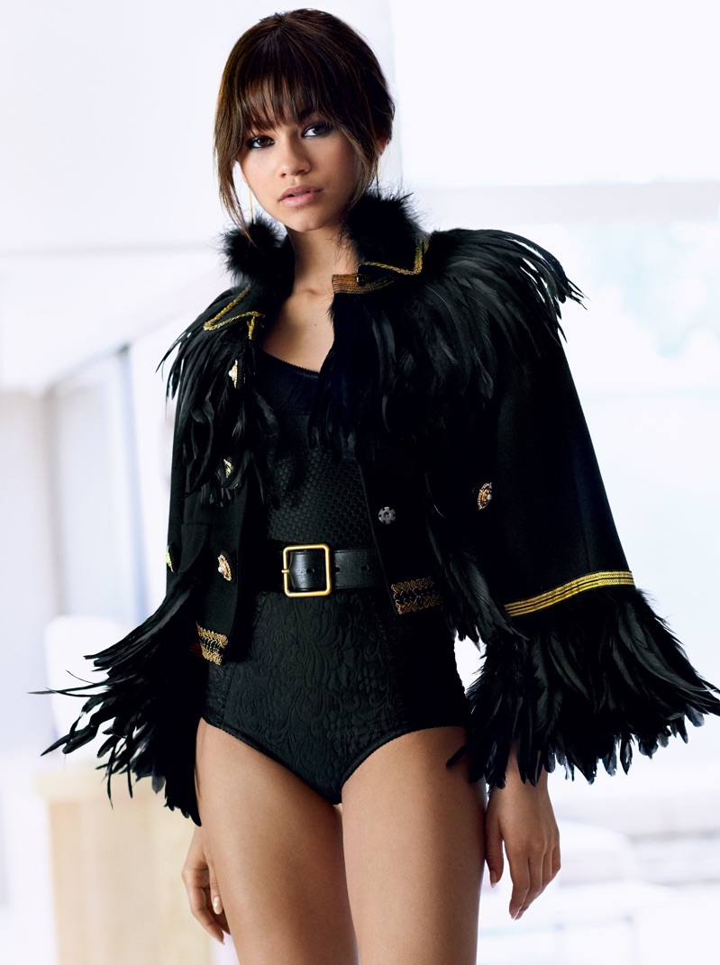 Actress Zendaya poses in Dolce & Gabbana jacket and bodysuit with Alexander McQueen belt
