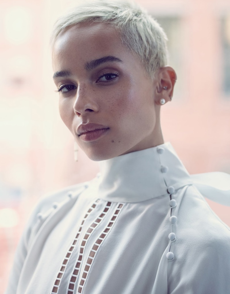 Getting her closeup, Zoe Kravitz wears Fendi blouse and Sophie Bille Brahe pearl earrings