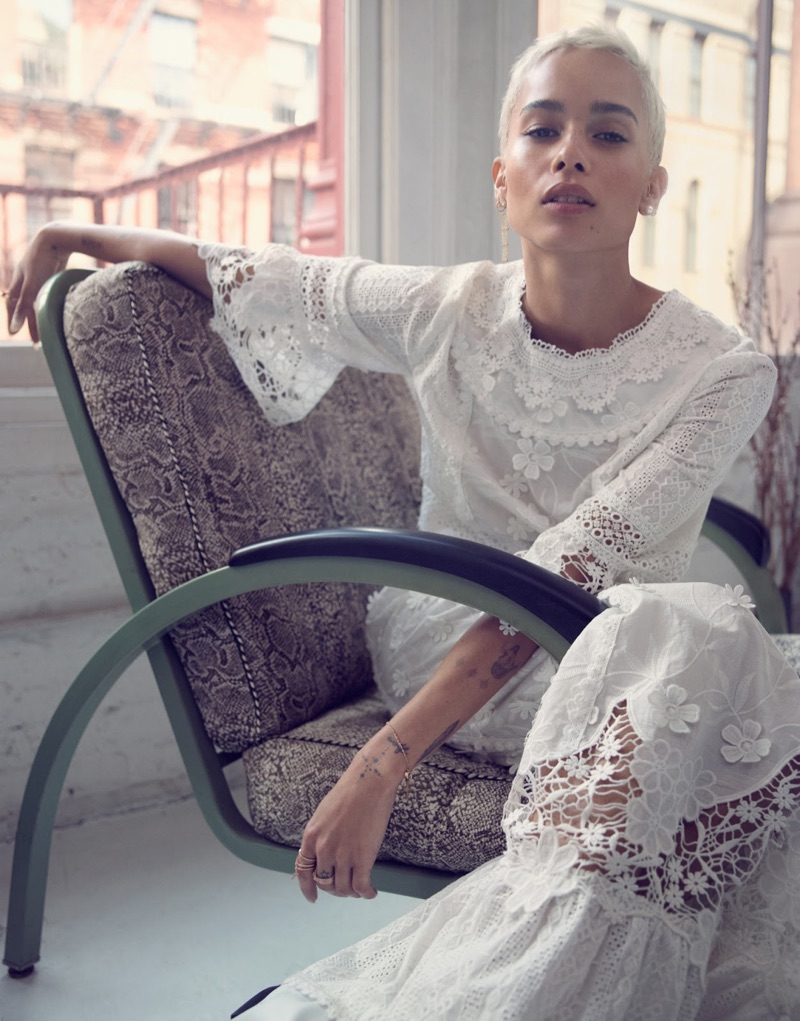 Actress Zoe Kravitz wears Sophie Bille Brahe pearl earrings and Anna Sui maxi dress