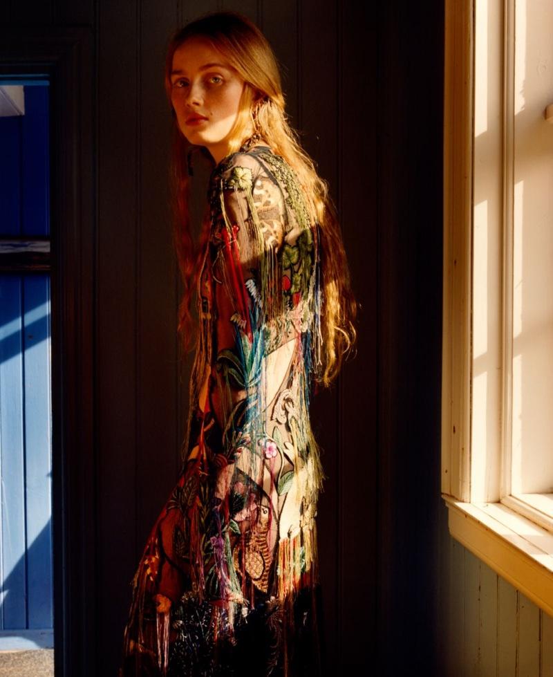 Model Rianne von Rompaey appears in Alexander Mcqueen's fall-winter 2017 campaign