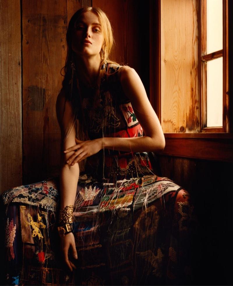 Rianne Von Rompaey wears a patchwork dress in Alexander McQueen's fall-winter 2017 campaign