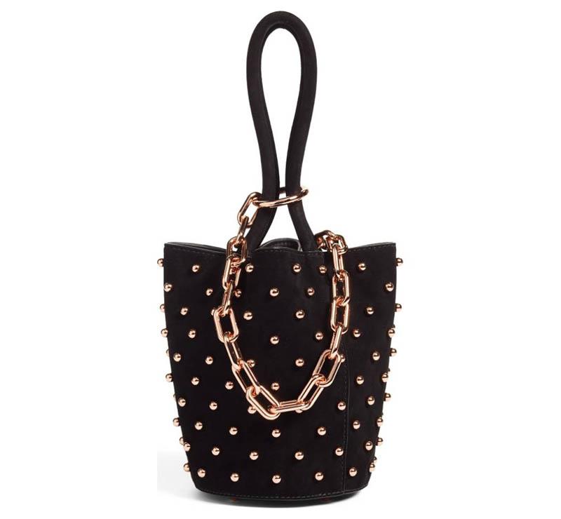 Alexander Wang Mini Roxy Studded Suede Bucket Bag $645