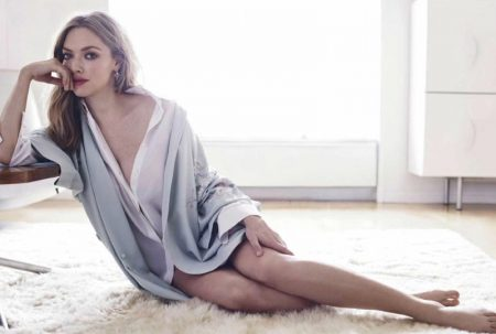 Actress Amanda Seyfried covers up in a cardigan and button-up shirt
