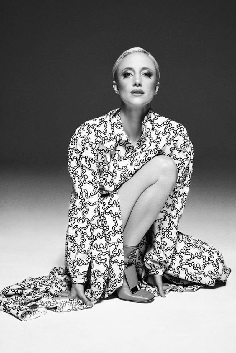 Andrea Riseborough poses in Valentino dress and Sergio Rossi shoes