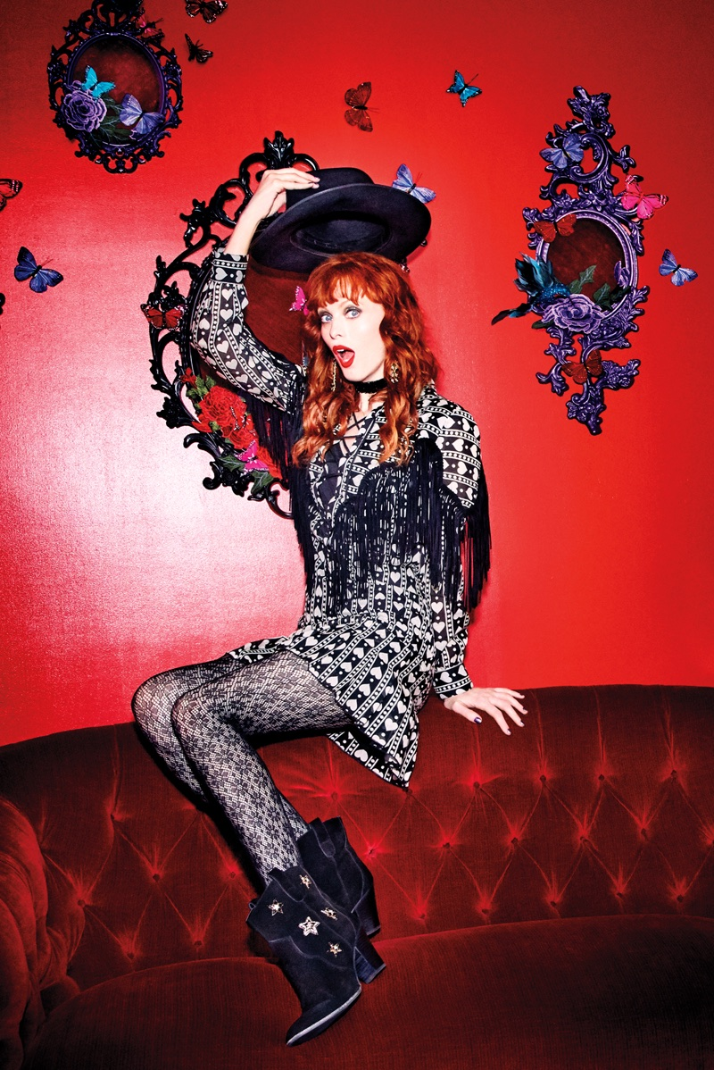 Karen Elson stars in Anna Sui x INC's fall-winter 2017 campaign