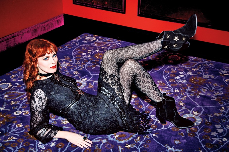 Karen Elson poses in a black dress from Anna Sui x INC fall 2017 collection