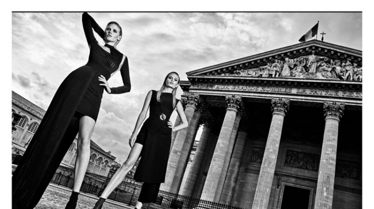 Natasha Poly and Lara Stone star in Balmain's fall-winter 2017 campaign