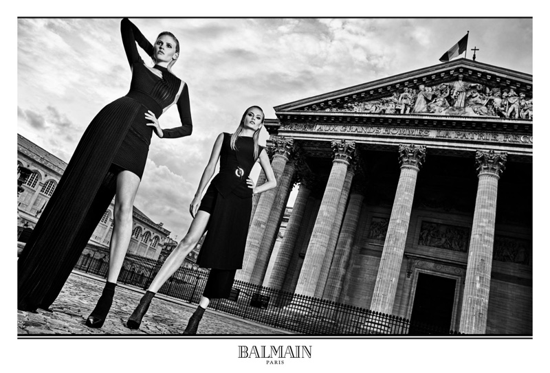 Natasha Poly and Lara Stone star in Balmain's fall-winter 2017 campaign