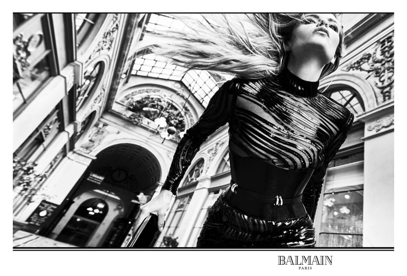 Natasha Poly wears form-fitting look in Balmain's fall-winter 2017 campaign