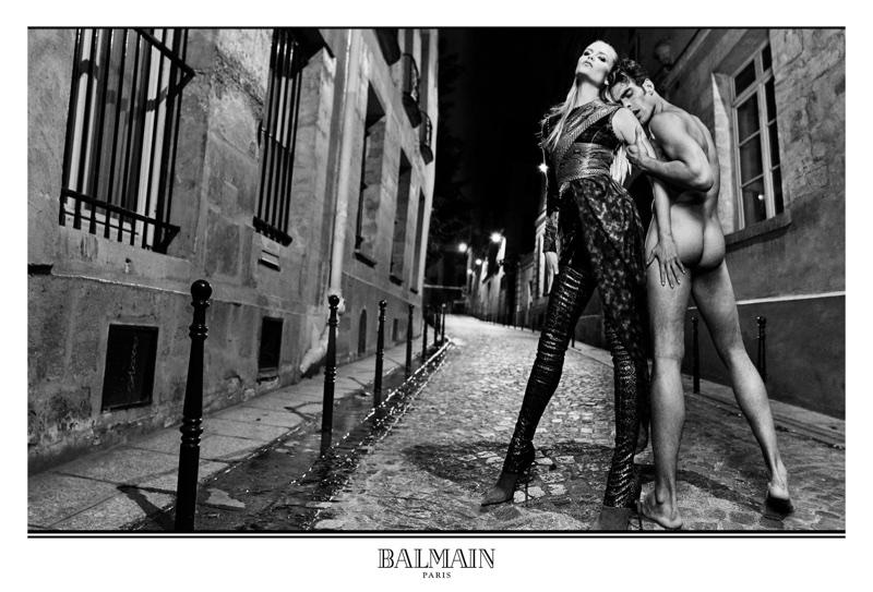 A naked Jon Kortajarena poses with Natasha Poly for Balmain's fall 2017 campaign