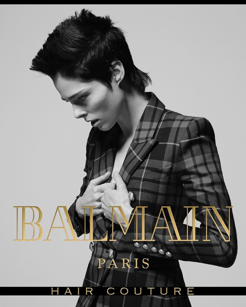 Coco Rocha wears a sheared coif in Balmain Hair Couture's fall-winter 2017 campaign
