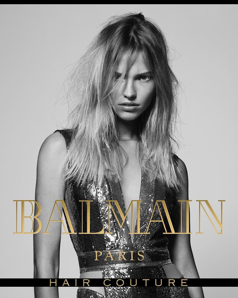 Sasha Luss wears mussed hairstyle in Balmain Hair Couture's fall-winter 2017 campaign