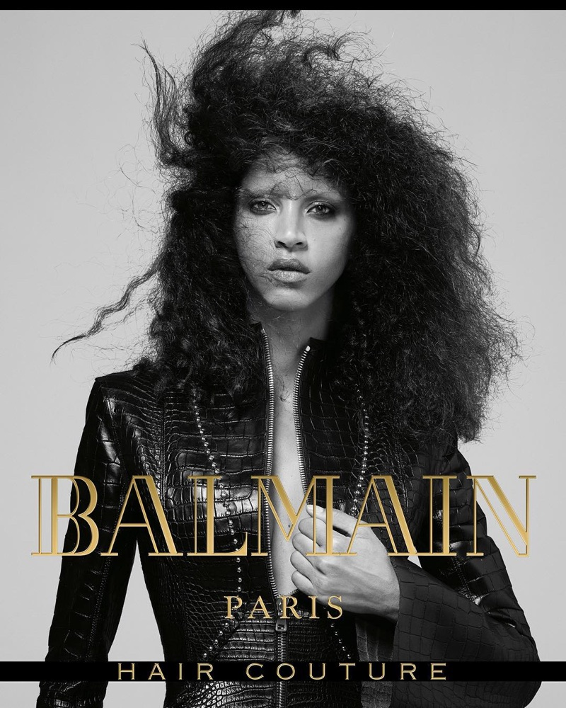 Noemie Lenoir fronts Balmain Hair Couture's fall-winter 2017 campaign