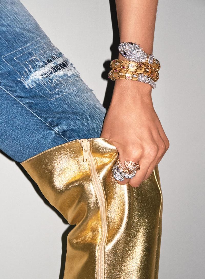 Bella Hadid Poses in Denim & Diamonds for Sexy V Magazine Shoot