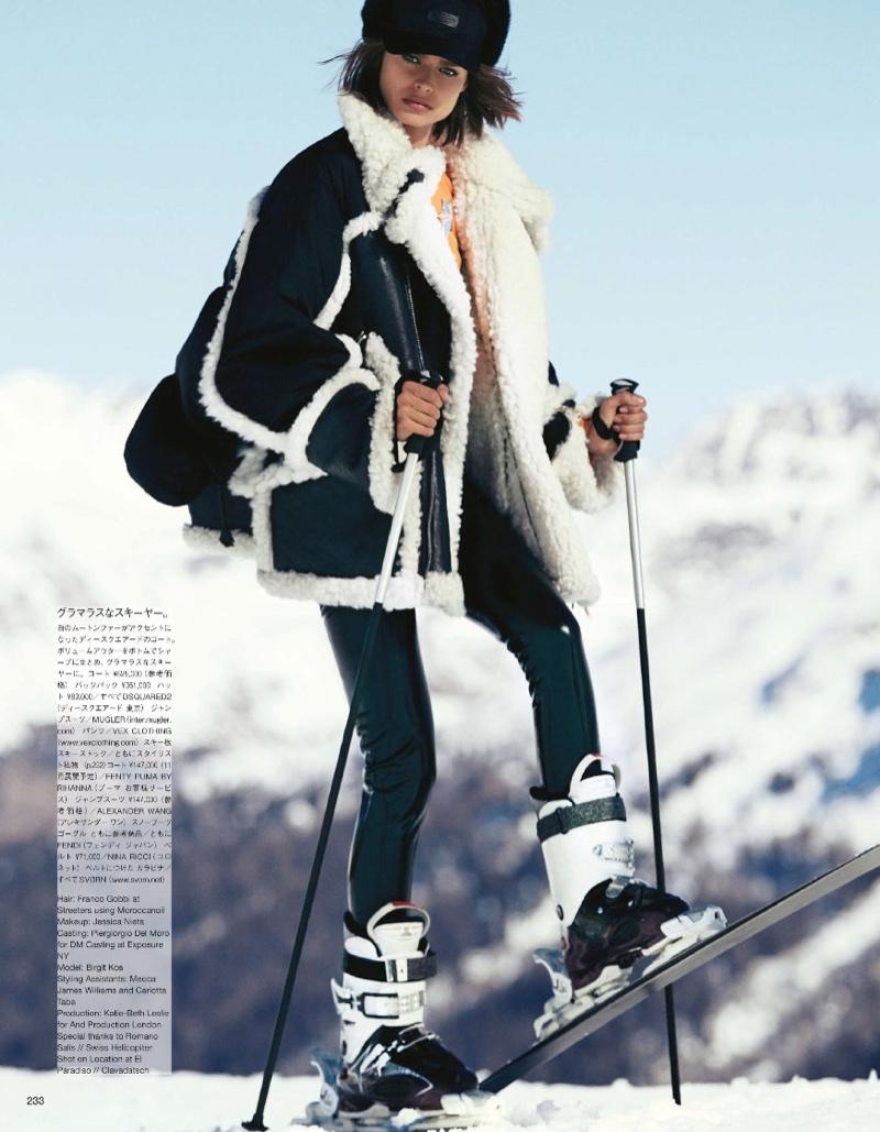 Birgit Kos Hits the Slopes in Ski Fashions for Vogue Japan