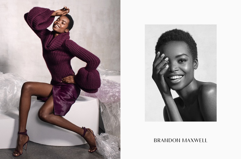 Maria Borges is all smiles in Brandon Maxwell's fall-winter 2017 campaign
