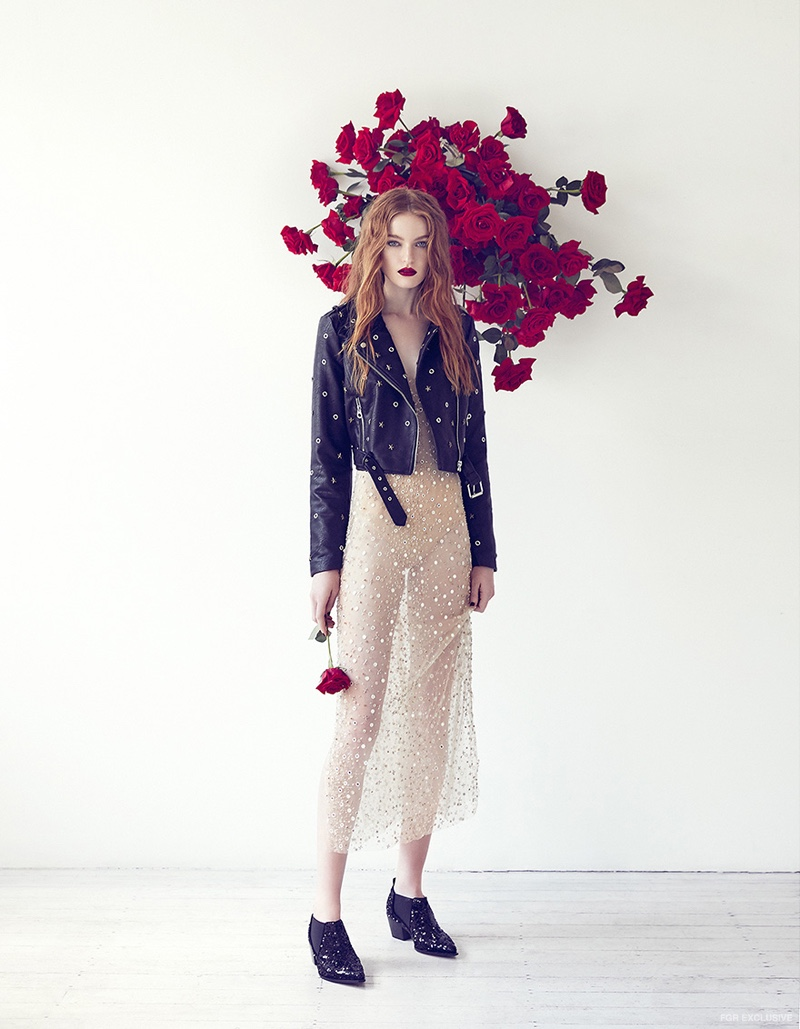 One Day Bridal Sequin Dress, Leather Jacket from Cose Ipanema amd Sonia Rykiel Sequin Boots from Christine