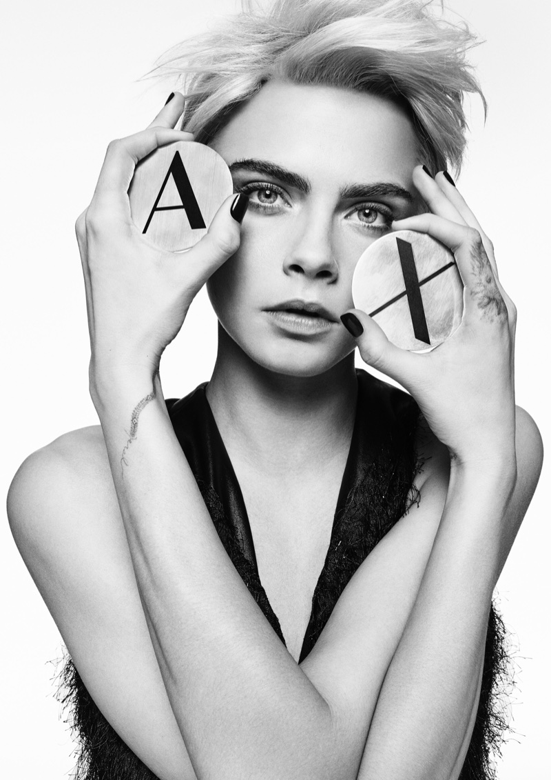Actress and model Cara Delevingne appears in A|X Armani Exchange's fall-winter 2017 campaign