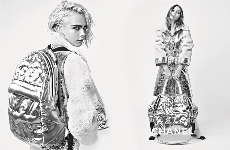 Cara Delevingne and Lily-Rose Depp shine in silver for Chanel's fall-winter 2017 campaign