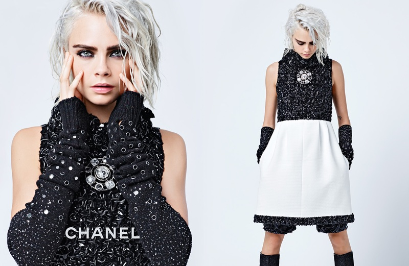An image from Chanel's fall 2017 advertising campaign starring Cara Delevingne