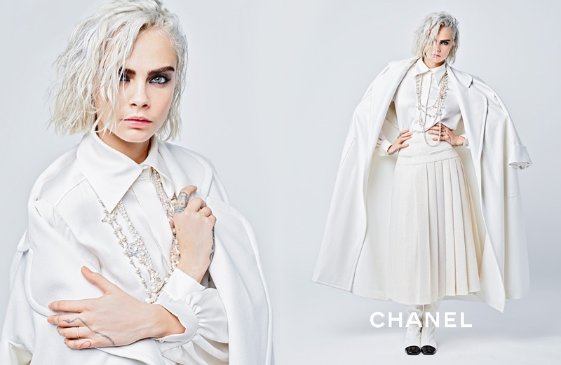 Cara Delevingne dresses in Chanel's fall-winter 2017 campaign