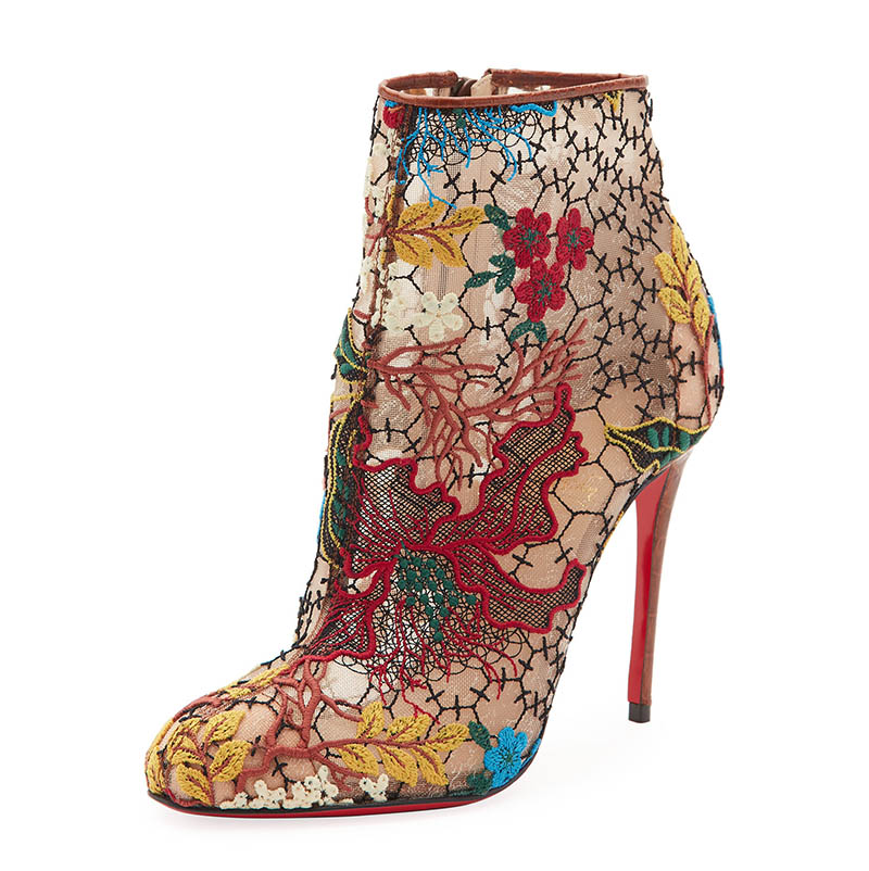 Christian Louboutin Miss Tennis Embroidered Lace Red Sole Bootie $995