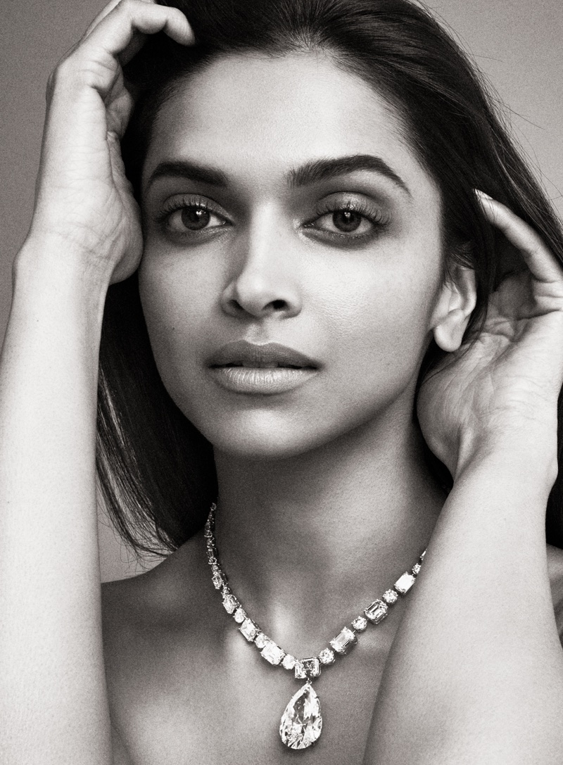 Photographed in black and white, Deepika Padukone wears a necklace full of gems