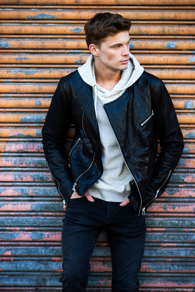 Daniel Patrick Road Biker Jacket, Onepiece Grey Hoodie and Hart n Dagger Black Wash Denim
