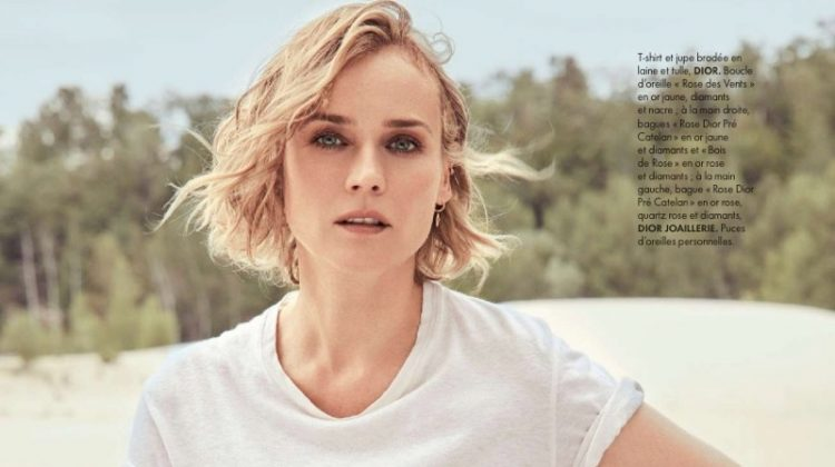 Diane Kruger wears Dior t-shirt and embroidered skirt