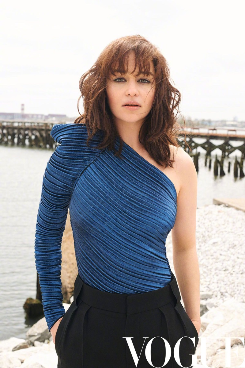 Terry Richardson photographs Emilia Clarke in an one-shoulder top