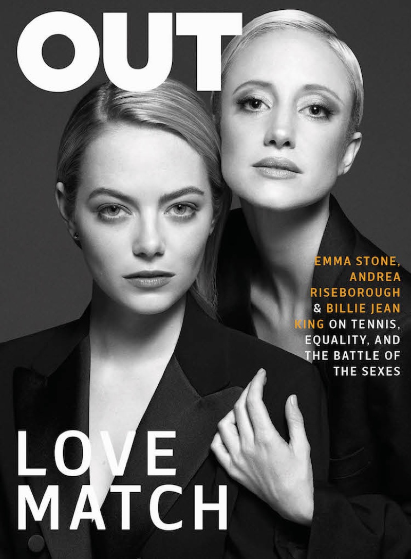 Emma Stone & Andrea Riseborough on OUT Magazine August 2017 Cover