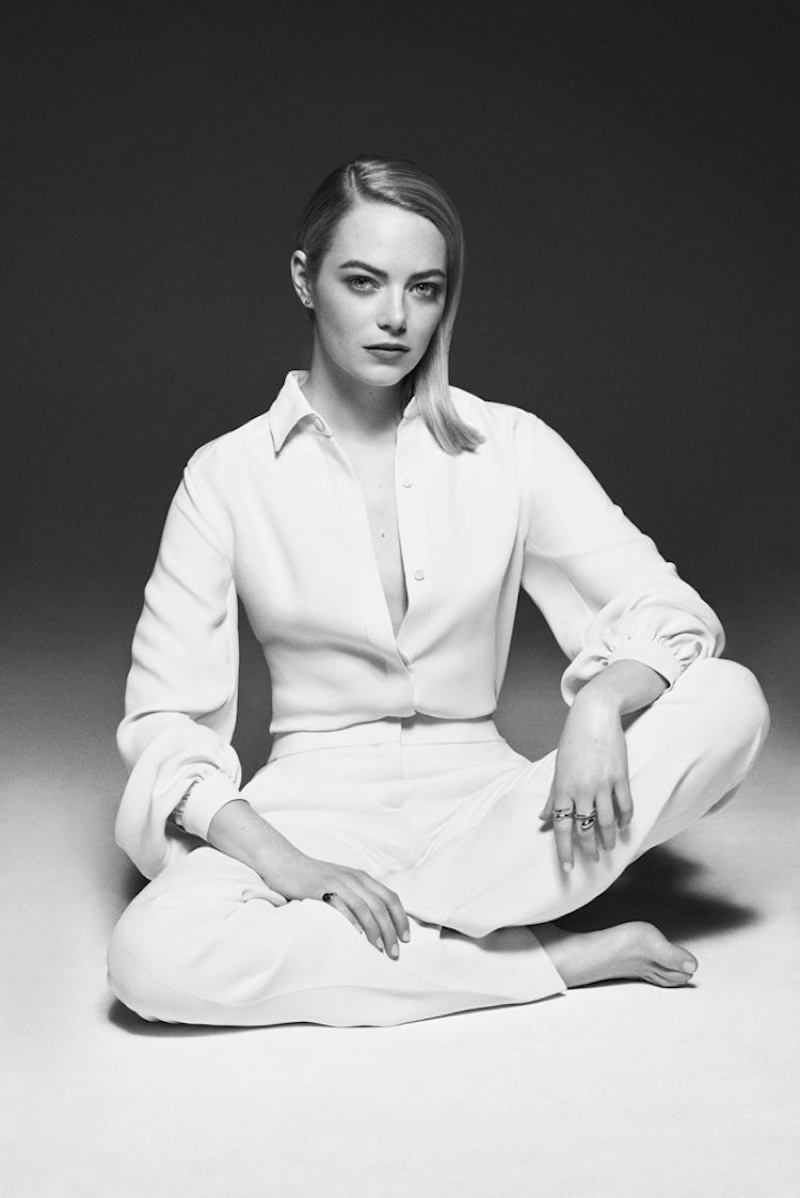 Actress Emma Stone poses in Tom Ford top and pants