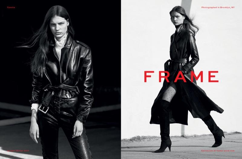 Faretta stars in FRAME's fall-winter 2017 campaign