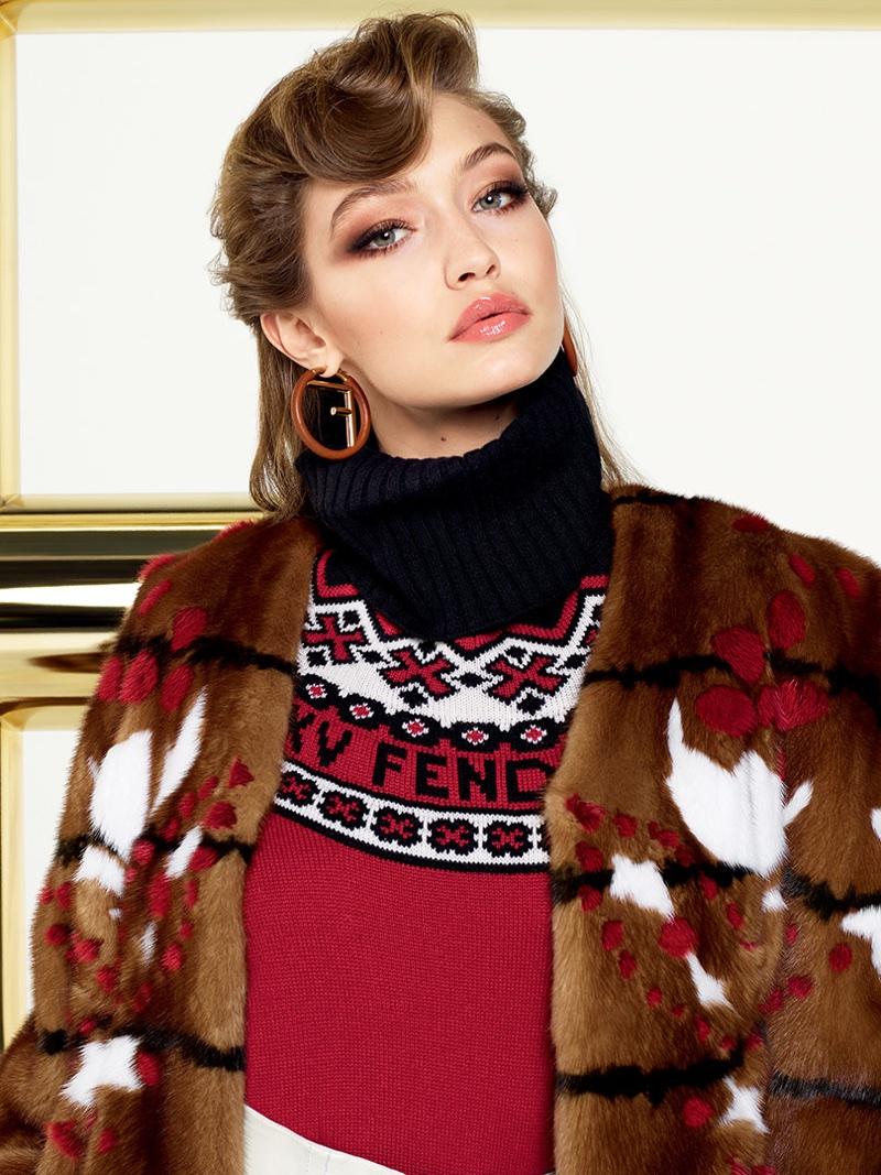 Getting her closeup, Gigi Hadid fronts Fendi's fall-winter 2017 campaign