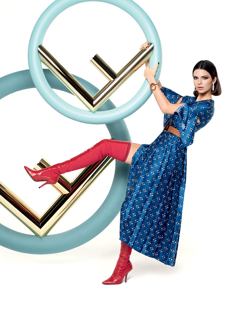 Model Kendall Jenner poses in a blue dress for Fendi's fall-winter 2017 campaign
