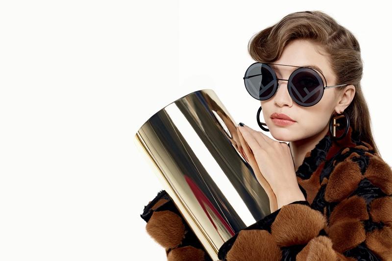 Gigi Hadid poses in logo sunglasses for Fendi's fall-winter 2017 campaign