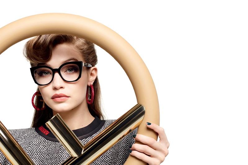 Gigi Hadid poses in chic eyewear for Fendi's fall-winter 2017 campaign